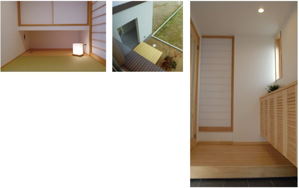 無垢のフローリング、無垢の建具を使用したモデルハウス
